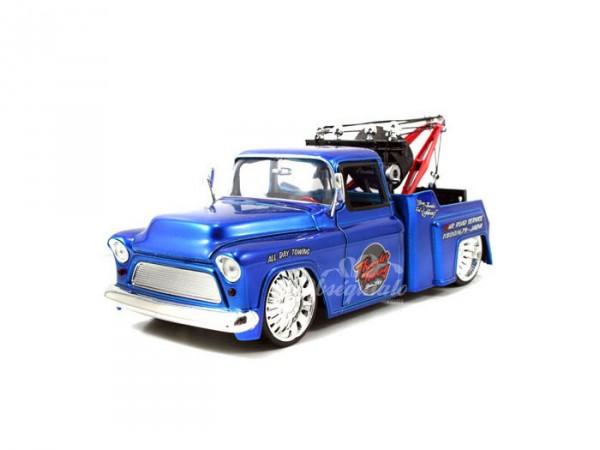 Chevy Stepside Tow Truck 1955 azul. Escala 1:24